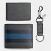 ชุดกระเป๋าสตางค์ผู้ชาย 3-IN-1 WALLET IN SMOOTH CALF LEATHER WITH VARSITY STRIPE F59538
