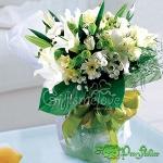ช่อดอกลิลลี่ขาว ทรงบูเก้ ดีไซน์เกาหลี