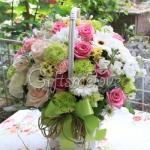 กระเช้าดอกไม้สีพาสเทล