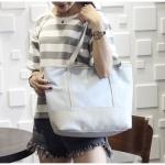 [ พร้อมส่ง ] - กระเป๋าแฟชั่น สีฟ้าเทาอ่อน ทรง Shopping Bag ใบใหญ่ ดีไซน์สวยเรียบเก๋ งานหนังอย่างดีคุ้มค่าเกินราคา