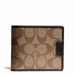 กระเป๋าสตางค์ผู้ชาย COACH HERITAGE SIGNATURE COMPACT ID WALLET F74736 KHAKI