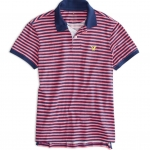 เสื้อโปโลผู้ชาย American Eagle STRIPED JERSEY POLO - PINK SIZE M