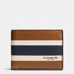 กระเป๋าสตางค์ผู้ชาย COACH SLIM BILLFOLD ID WALLET IN VARITY SPORT CALF LEATHER F75138 : SADDLE