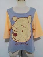 C5149 เสื้อแฟชั่นหมีพูห์ สีเทา- เหลือง แขน 3 ส่วน