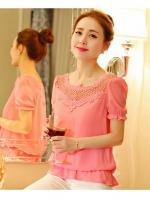 S033 เสื้อผ้าแฟชั่นพร้อมส่ง เสื้อแฟชั่นผ้า Pearl Chiffon + ลูกไม้ จั้มเอว แบบสวม สีชมพู (สีสินค้าจริงรูปสุดท้าย)