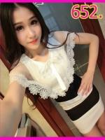 dress652สีดำ /สีชมพู
