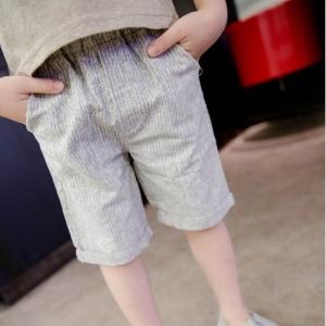 กางเกงขาสั้น ลายทาง ผ้าคอตตอนสีเทา ไซส์ 85