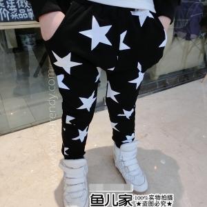 กางเกงทรงฮาเร็ม ผ้ายืดสีดำ พิมพ์ลายดาว แนวๆ มี ไซส์ 90