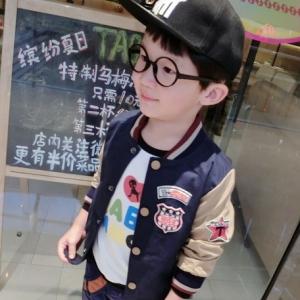 เสื้อกันหนาวเบสบอล สไตล์เกาหลี ตัวเสื้อสีนํ้าเงิน แขนสีนํ้าตาล มีไซส์ 90 / 100 / 110 / 120 / 130