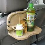 ถาดวางของกิน เครื่องดื่ม พับได้ แขวนติดเบาะรถยนต์ (สีเบจ)