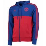 เสื้อแจ็คเก็ตแมนเชสเตอร์ ยูไนเต็ด Manchester United 3 Stripe Full Zip Hoodie สีน้ำเงินของแท้