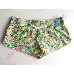 Sale sh397 กางเกงผ้า cotton ลายเก๋ ๆ สีเขียวเหลือง พร้อมส่ง Size L --> the sea