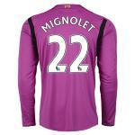 เสื้อลิเวอร์พูล 2014-2015 ของแท้ 100% Liverpool FC Home Goalkeeper Jersey 2014 2015 - Short Sleeve with MIGNOLET 22 printing เสื้อผู้รักษาประตูลิเวอร์พูล 14/15 ติดชื่อ MIGNOLET เบอร์22 แขนยาว