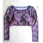 t228 (Size S,M,L) เสื้อว่ายน้ำแขนยาวทรงครึ่งตัว ลายกราฟิกโทนสีม่วง --> New Look