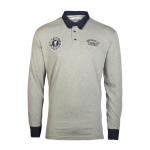เสื้อโปโลลิเวอร์พูล ของแท้ 100% Liverpool FC Mens Grey Long Sleeve Flag Polo Shirt