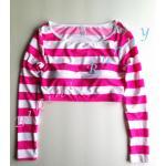 t229 (Size S, M) เสื้อว่ายน้ำแขนยาวทรงครึ่งตัว ลายขวางสีขาวชมพู พร้อมส่ง --> New Look