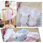 ถุงเท้าลูกไม้เด็กหญิง มีสีชมพู ขาว ฟ้า Size 2-4 / 3-5