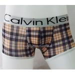 กางเกงในชาย Calvin Klein Boxer Briefs : ลายสก๊อต โทนสีน้ำตาล แถบสีเงิน