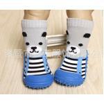 ถุงเท้ารองเท้าพื้นยางหัดเดิน 2 in 1 ลาย หมีพื้นฟ้า Size 19 - 23