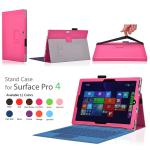 "Folding Folio Leather Cover Case with elastic For Microsoft Surface PRO 4 12.3 ""สีบานเย็น"
