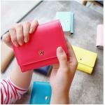 Crown Wallet O. กระเป๋าสตางค์ 3 ตอน สีแดงแตงโม