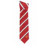 เนคไทแมนเชสเตอร์ ยูไนเต็ดของแท้ Manchester United Crest Striped Tie Red-White Polyester