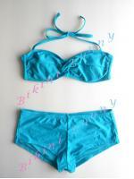 รหัส bk1118 (Size L/XL อก 36 - 38 นิ้ว) ทูพีชเกาะอกทวิสต์สีฟ้าน้ำทะเล ทรงกางเกงขาสั้น --> Catalina