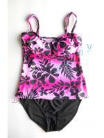 Sale bk751 (Size L รอบอก 37-39 นิ้้ว, สะโพก 40-41 นิ้ว) ชุดว่ายน้ำสีชมพูลายดอก --> Leilani