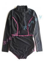 Sale ip126 (Size S-M อก 32-34 นิ้ว, สะโพก 34-37 นิ้ว) วันพีชแขนยาวสีดำตัดลายเส้นสีชมพู มีซิปสองจุด ใส่ง่ายดูดี