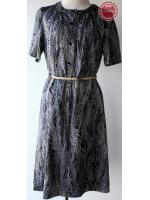 D42:Vintage dress เดรสวินเทจสีน้ำเงินลายรวงข้าวสีขาวมีมิติ