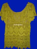 ขายแล้วค่ะ T21:Vintage top เสื้อถักสีเหลืองแขนกระดิ่ง ลายถักสวยม๊าก......&#x2764