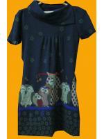 ขายแล้วค่ะ D9:2nd hand dress เดรสผ้าวูล ลายครอบครัวนกฮูกสุดน่ารัก&#x2764