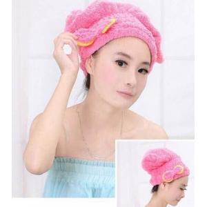 หมวกคลุมผมทำให้ผมแห้งไวใช้ขณะอาบน้ำหรือใส่ขณะแต่งหน้า ช่วยเก็บผมรวบผมอย่างดี สีชมพูเข้ม