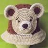 หมวกถักปีกกว้างหน้าตุ๊กตาหมี