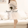 Soft Gray Cotton Long Blouse Back Bow Tie by Seoul Secret