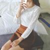 เสื้อแฟชั่น ผ้าลูกไม้แขนยาว สีขาว