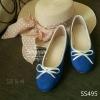 495) พร้อมส่ง รองเท้าทรงบัลเล่ย์พื้นเตี้ย ขอบเงิน