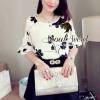 Set Creamy Cotton Blouse Bloom Embroider match with Black Short by Seoul Secret