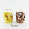 แก้วเป๊ก ลวดลายเอกลักษณ์ไทย แพ็คคู่สองสี ปั้มลายเนื้อนูน สินค้าบรรจุในกล่องเรียบร้อย