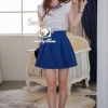 Legible White Top & Blue Skirt Set together with Luxy Neckless by Seoul Secret
