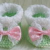 รองเท้าบู๊ทสั้น (สีเขียวโศก + โบว์ลายจุดสีชมพู)
