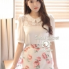 Korea Sweetie White Blouse Floating Flowers by Seoul Secret
