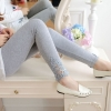Leggings กางเกงขายาวคลุมท้อง แต่งลูกไม้ปลายขา