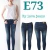 รหัส E73 กางเกงยีนส์เอวต่ำขายาว สีฟ้าอมเขียวขูดหน้าขา / ผ้ายืด