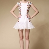 Retro lively embroidered sleeveless vest Dress temperament puff