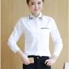 เสื้อเชิ้ตแฟชั่นแขนยาว สีขาว ปักลายสไตล์เกาหลี