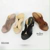 1008) รองเท้าส้นเตารีด ทรงก้างปลา กำมะหยี่