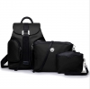 [ Pre-Order ] - กระเป๋าเป้แฟชั่น สไตล์เกาหลี Set 3 ชิ้นคุ้ม สีดำคลาสสิค ใบกลางสะพายหลัง ดีไซน์สวยเก๋ ผ้าร่มน้ำหนักเบา พกพาสะดวก เท่ๆ