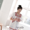 Flowers wings embroidery Blouse style korea