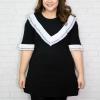 เสื้อตัวยาว/มินิเดรสแขนสั้นสีดำแต่งระบายสีขาว